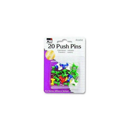Push Pins - Assorted 20 Count