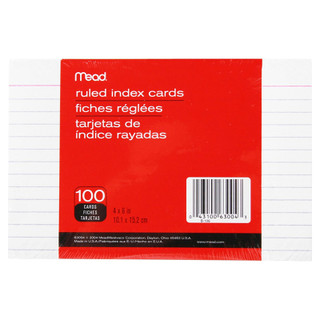 "Mead Ruled Index Cards - 100 count - 4"" x 6"""