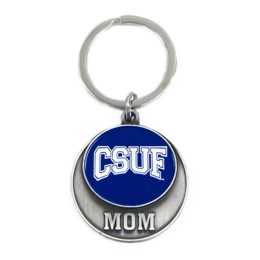Round Medallion Mom Key Ring - Navy