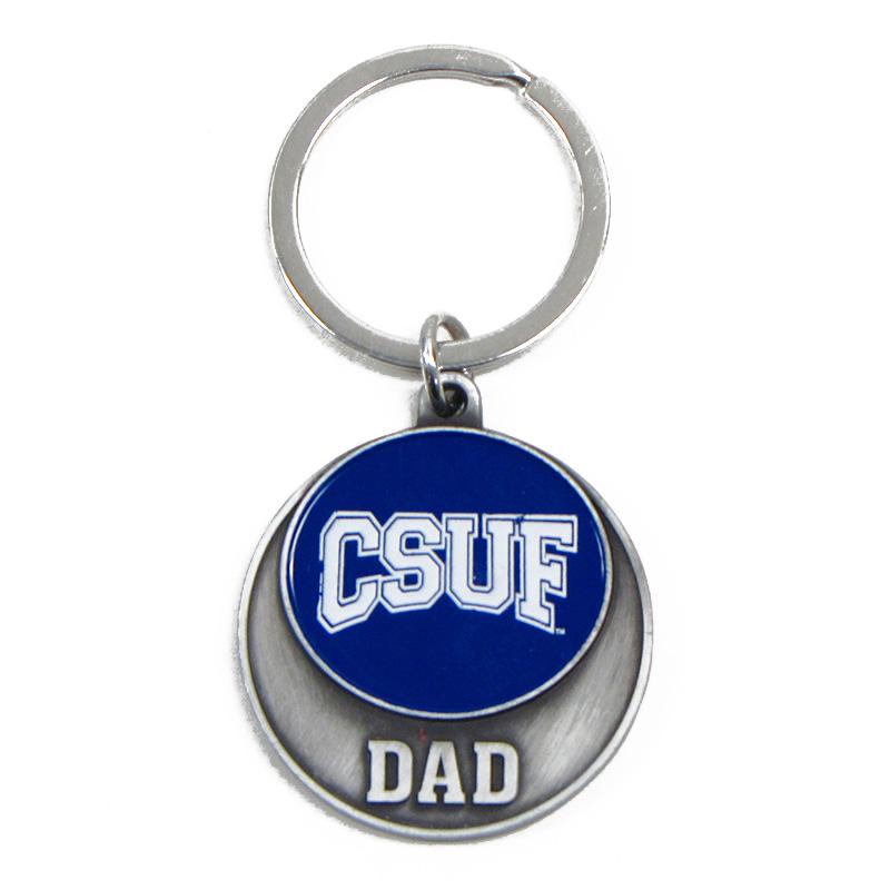 Round Medallion Dad Key Ring - Navy