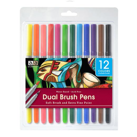 Art Advantage Dual Brush Pens - 12 Pack