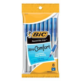 BIC Round Stic Grip Xtra Comfort Ballpoint Pens - Blue - 8 Pack