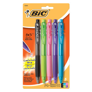 BIC BU3 Grip Retractable Ball Pens - Assorted Colors - 5 Pack
