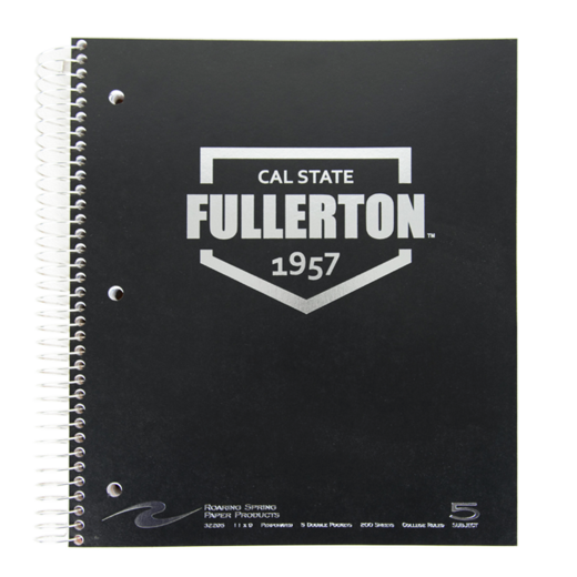 5 Subject Imprinted Spiral Notebook - Black