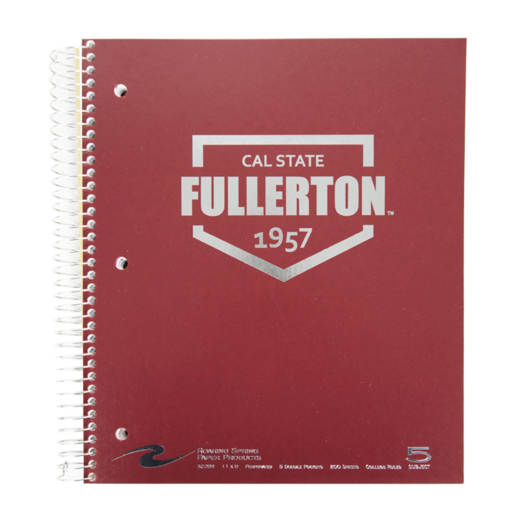 5 Subject Imprinted Spiral Notebook - Red