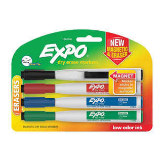 Expo Magnetic Dry Erase Markers with Eraser - 4 Pack