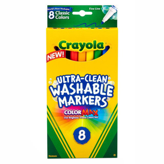 Crayola Fine Line Ultra-Clean Washable Markers - 8 Pack - Assorted Classic Colors
