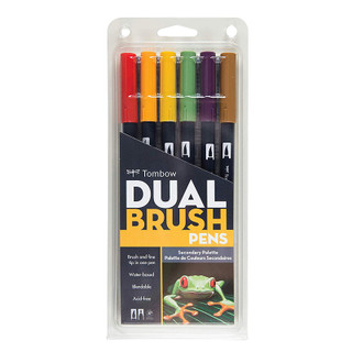 Tombow Dual Brush Pens - 6 Pack - Secondary Palette