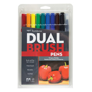 Tombow Dual Brush Pens - 10 Pack - Primary Palette
