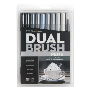 Tombow Dual Brush Pens - 10 Pack - Grayscale Palette