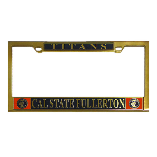 Csuf Seal Brass License Plate Frame