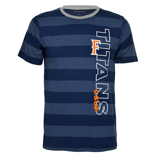 T-shirt with blue stripes.
