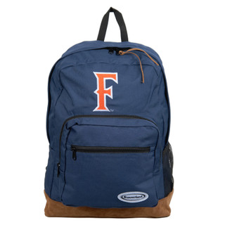 Navy F Backpack with Suede Bottom - Navy
