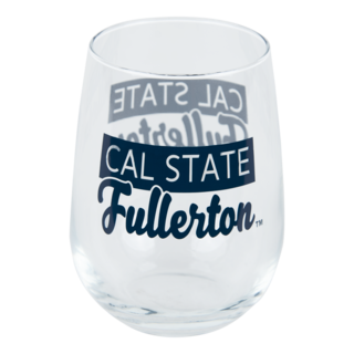 Cal State Fullerton Stemless Wine Glass