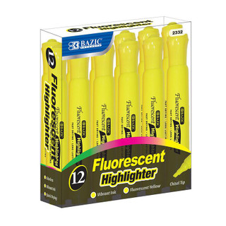 Bazic Fluorescent Highlighter - 12 Pack