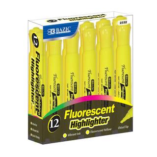 Bazic Fluorescent Highlighter - 12 Pack