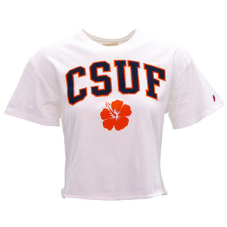 CSUF Hibiscus Crop Top - White - XL
